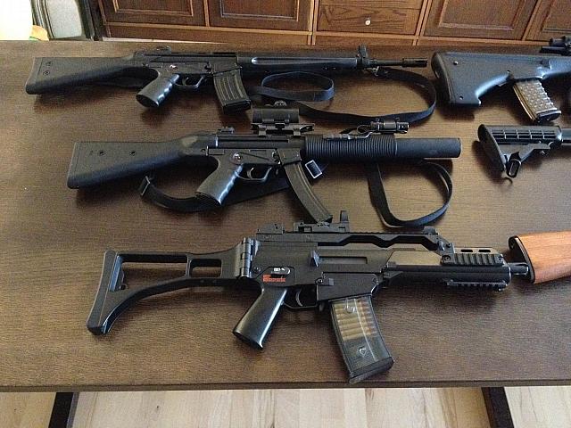 Mine el våben. her ses h&;k samlingen, ca33e, sd2 og g36k